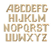 Isometric 3d font from the cubes and rhombs. Typographic characters set for print and design. Vector illustration Royalty Free Stock Image