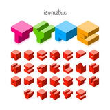 Isometric 3d font. Three-dimensional alphabet Royalty Free Stock Photo