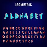 Isometric 3d font. Three-dimensional alphabet. Vector illustration. Blue background royalty free illustration