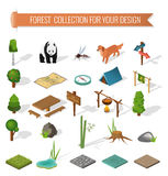Isometric 3d forest camping elements Stock Photography