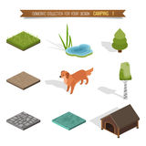Isometric 3d forest camping. Elements for landscape design Stock Photo