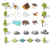 Isometric 3d forest camping elements for landscape Royalty Free Stock Photo