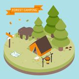 Isometric 3d forest camping icon. Forest and tent, bear and fire Royalty Free Stock Photography