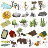 Isometric 3d forest hiking elements Stock Photos