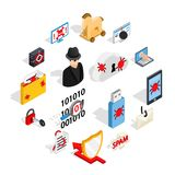 Hacking icons set, isometric 3d style. Isometric 3d hacking icons set. Universal hacking icons to use for web and mobile UI, set of basic hacking elements Stock Photo