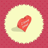 Isometric 3d heart. In a round frame on abstract background with small hearts. Happy Valentine`s Day vector illustration