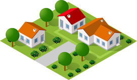 Isometric 3D icon. House home. Residence building the city landscape three-dimensional vector symbol concept Stock Photography