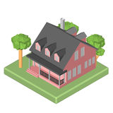 Isometric 3D icon. Pictograms house with a mailbox Stock Image
