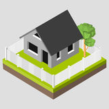Isometric 3D icon. Pictograms house with a white fence and trees. Vector illustration eps 10 Stock Photos