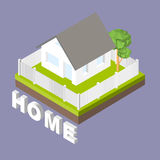 Isometric 3D icon. Pictograms house with a white fence and trees. Vector illustration eps 10 Stock Image