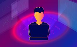 Isometric 3d illustration of guy programmer coding a project using computer. Programmer freelancer at work. stock illustration