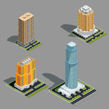 Isometric 3D illustrations of modern urban buildings. Isometric 3D illustrations icons of buildings skyscrapers, tower, offices, residential buildings Royalty Free Stock Photos