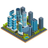 Isometric 3D illustrations of modern urban quarter with skyscrapers, offices, residential buildings. Isometric 3D illustrations icons of buildings. The concept Royalty Free Stock Images