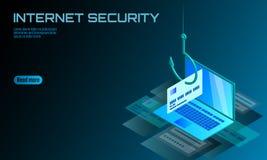 Isometric 3D laptopu kredytowej karty cvv hasło phishing Informacja osobista obrachunkowego emaila przekrętu online hacker spam Obraz Royalty Free
