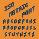 Isometric 3D letters. Three-Dimensional font for design: badges, logos, prints, posters, postcards. Typography, decorative graphic design. Vector illustration Stock Images