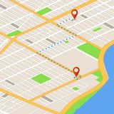 Isometric 3d map with location pins. Gps navigation vector background. Route on 3d map navigator, gps location on street illustration Stock Photography
