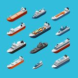 Isometric 3d military and passenger ships, boat and yacht vector sea transportation and shipping icons isolated. Transport water travel, boat ship and vessel stock illustration