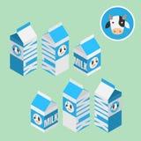 Isometric 3d mleka pudełko dla zdrowego produktu, bubla na supermarkecie, sklepu i sklepu odizolowywających na jasnozielonym tle, Zdjęcie Royalty Free