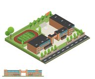 Isometric and 3D of modern office, school building and architect royalty free stock photo