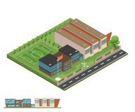 Isometric and 3D of modern office, school building and architect stock image