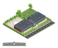 Isometric and 3D of modern office, school building and architect stock images