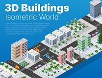 Isometric 3d module block district part of the city