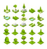 Isometric 3d nature elements. Forest and city park trees and plants. Vector map graphics. Wood and park green nature part, natural eco isometric illustration Stock Images
