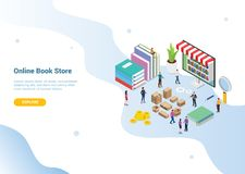 Isometric 3d online book store concept with digital library books for website template landing homepage banner - vector. Illustration stock illustration