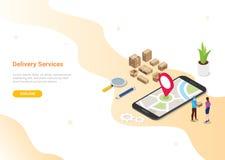 Isometric 3d online delivery service concept with people deliver order for website template design or landing homepage - vector. Illustration vector illustration
