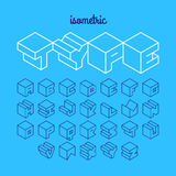 Isometric 3d outline font. Three-dimensional alphabet vector illustration