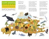 Isometric 3d Północna Ameryka flory i fauny kartografują elementy zwierzęta royalty ilustracja