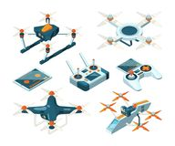 Isometric 3d pictures of drone copters, quadcopters or unmanned aircrafts. Isometric 3d pictures of drone copters. Vector quadcopters, unmanned aircrafts or Stock Photo