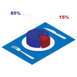 Isometric 3d pie chart on plate - business concept Stock Photos