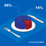 Isometric 3d pie chart on plate - business lunch Royalty Free Stock Photo