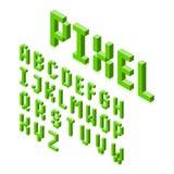 Isometric 3d pixel font Stock Image