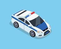 Isometric 3D Police Car. Flat 3d isometric high quality police car. Isometric police car top view. Isolated isometric police car. 3D isometric police car Royalty Free Stock Photography