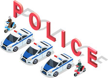 Isometric 3D Police Car Stock Photography