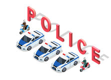 Isometric 3D Police Car. Flat 3d isometric high quality police car. Isometric police car top view. Isolated isometric police car. 3D isometric police car Stock Photography