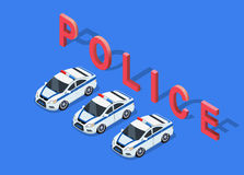 Isometric 3D Police Car. Flat 3d isometric high quality police car. Isometric police car top view. Isolated isometric police car. 3D isometric police car Royalty Free Stock Photo