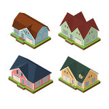 Isometric 3d private house icons set. Real estate vector illustrations isolated on white backround Stock Image