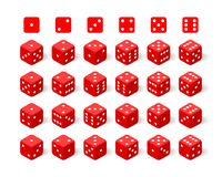 Isometric 3d red dice set Stock Image