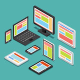 Isometric 3D responsive web design concept with different screens and electronic devices. Technology device tablet, responsive screen, computer device vector illustration