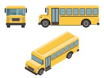 Isometric 3d Retro Flat Design School Buss Car Icons Set Vector illustration Royalty Free Stock Photography