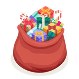 Isometric 3d San Gifts Bag New Year Christmas Flat Design Icon Template. Isometric San Gifts Bag New Year Christmas Flat Design Icon Template Vector Stock Photo