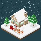 Isometric 3d Santa claus bring a gift to house by his six reindeers and sleigh in Christmas theme, Illustration flat vector design. Isometric christmas holiday Royalty Free Stock Image