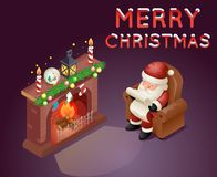 Isometric 3d Santa Claus Read Gift List Sit Armchair Character. Icon Holiday Fireplace Cartoon Background Greeting Card Template Poster Vector illustration Royalty Free Stock Photo