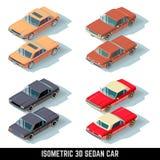 Isometric 3D sedan car, city transport vector icons Stock Images