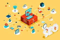 Isometric 3d seo infographic concept Royalty Free Stock Photo