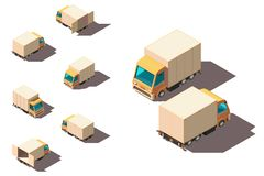 Isometric 3d set small shipment truck for delivery moving. Concept freight transport, vehicle. Low poly. Vector illustration royalty free illustration