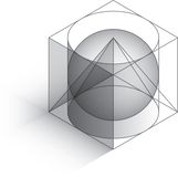 Isometric 3D shapes. Basic 3D shapes overlaid in a isometric view Stock Illustration